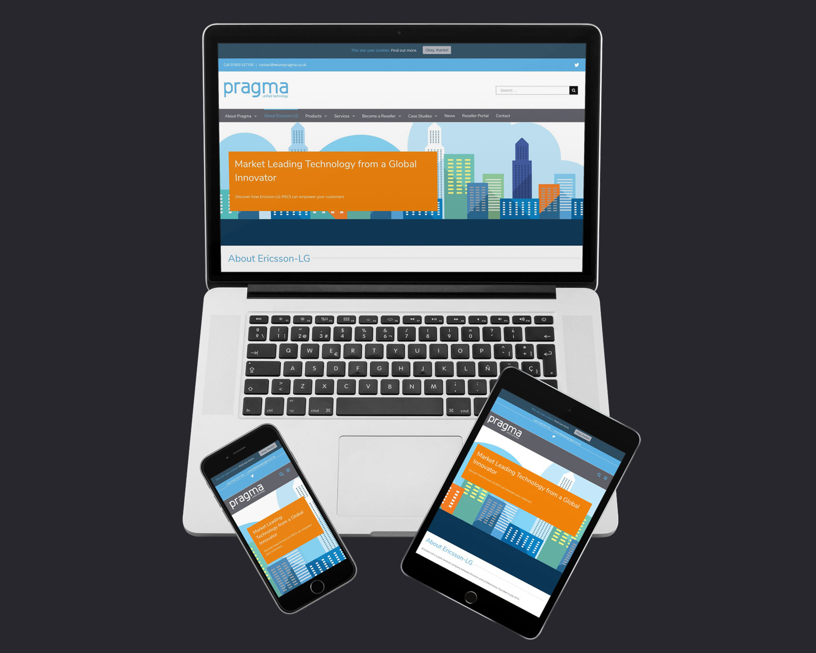 Pragma website design on a laptop, tablet and mobile
