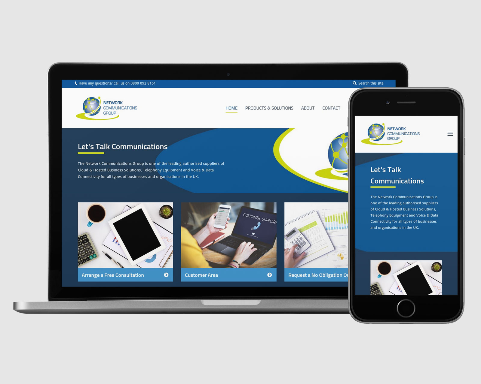 Netcomms website design on laptop and mobile