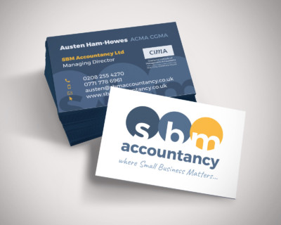 Stack of business cards for SBM Accountancy