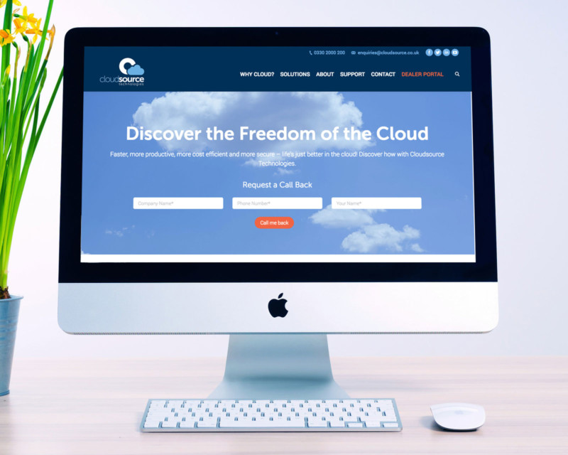 Cloudsource website homepage on a Mac desktop computer