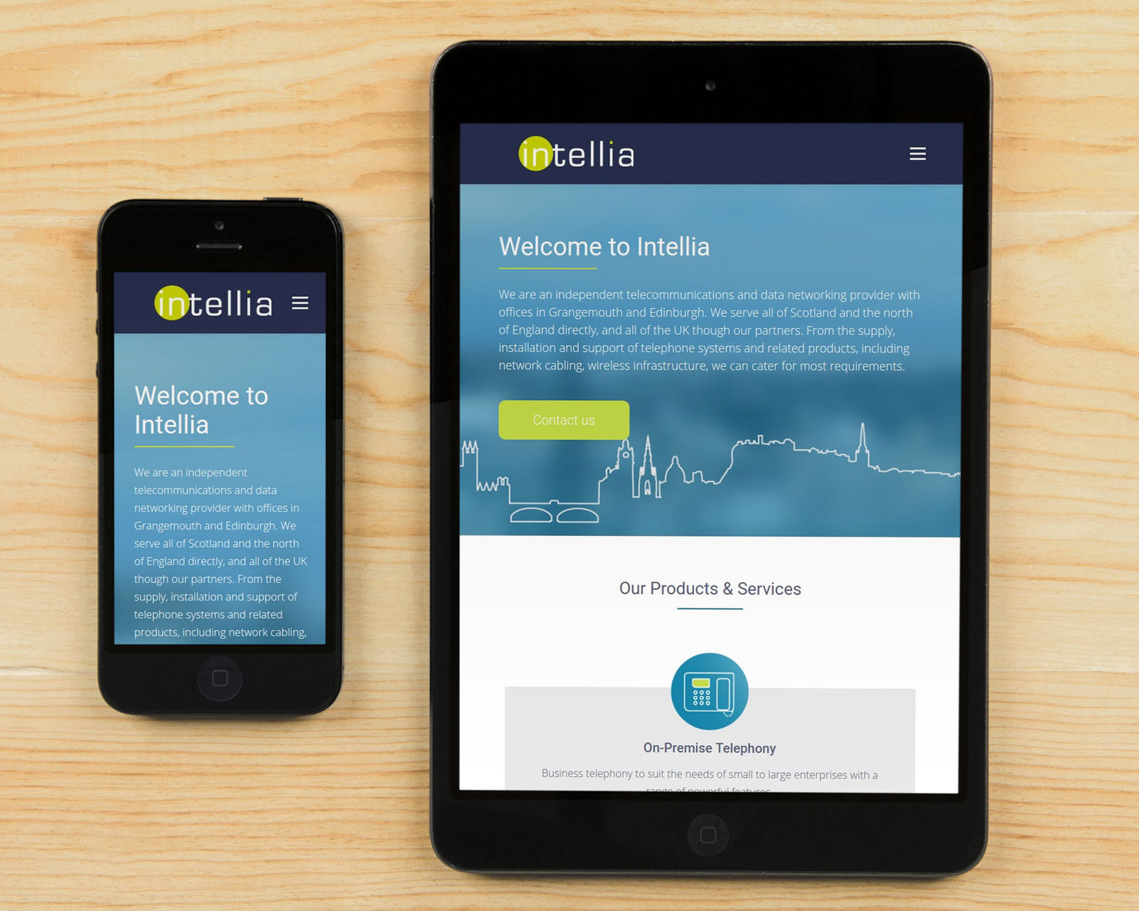 Intellia website homepage on tablet and mobile screens