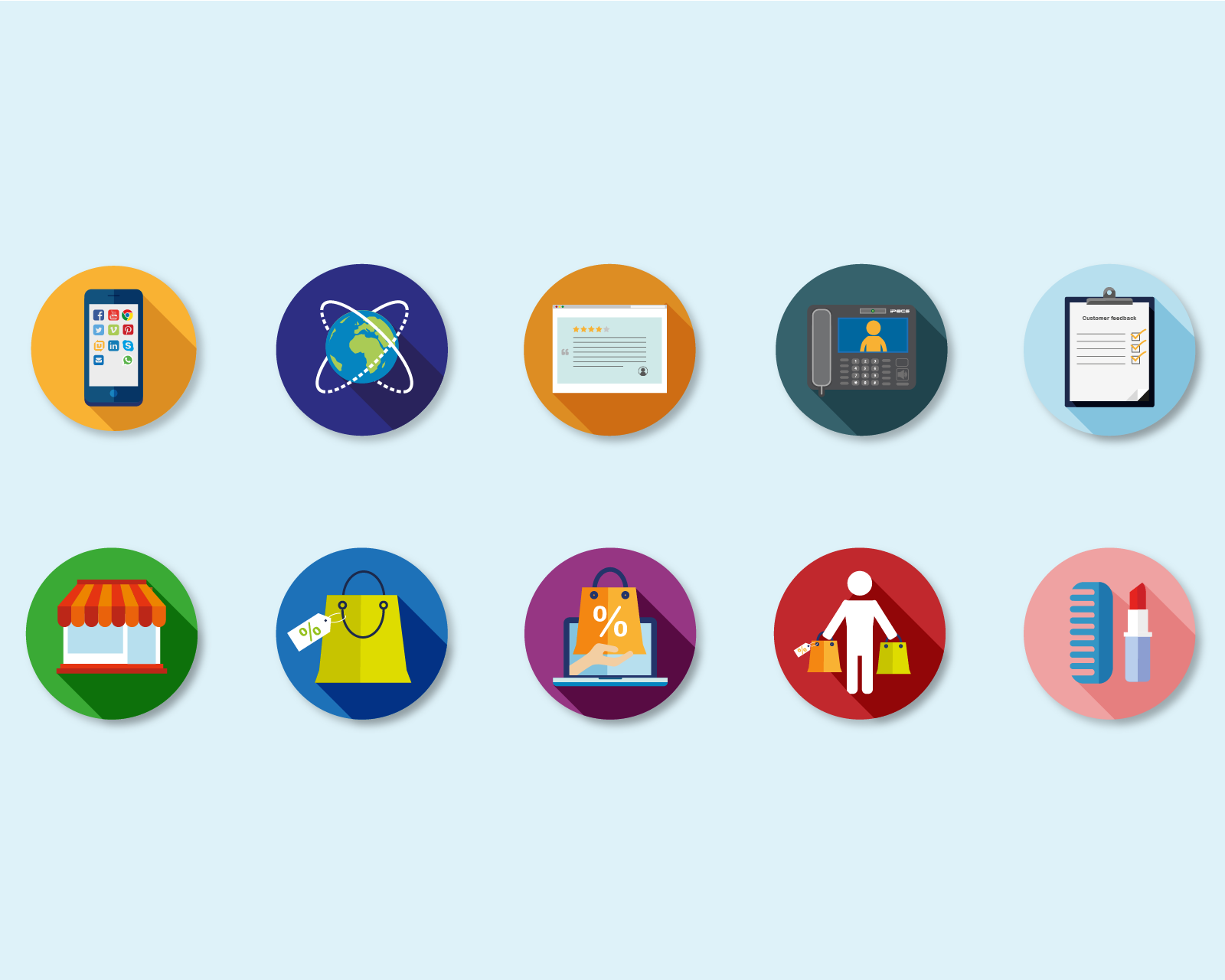 A selection of telecoms company icons