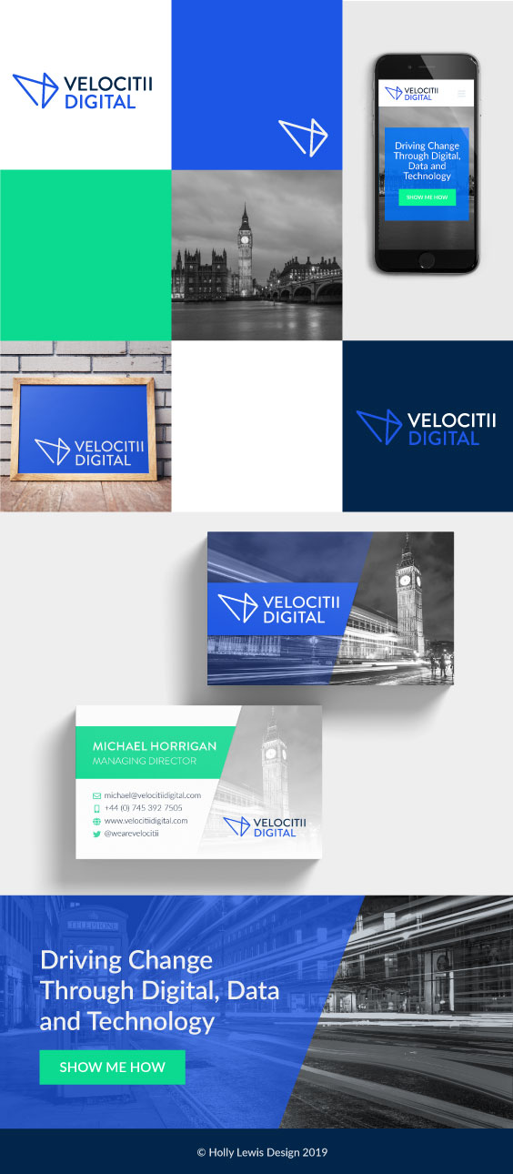 Velocitii Digital brand identity featuring business card mockups