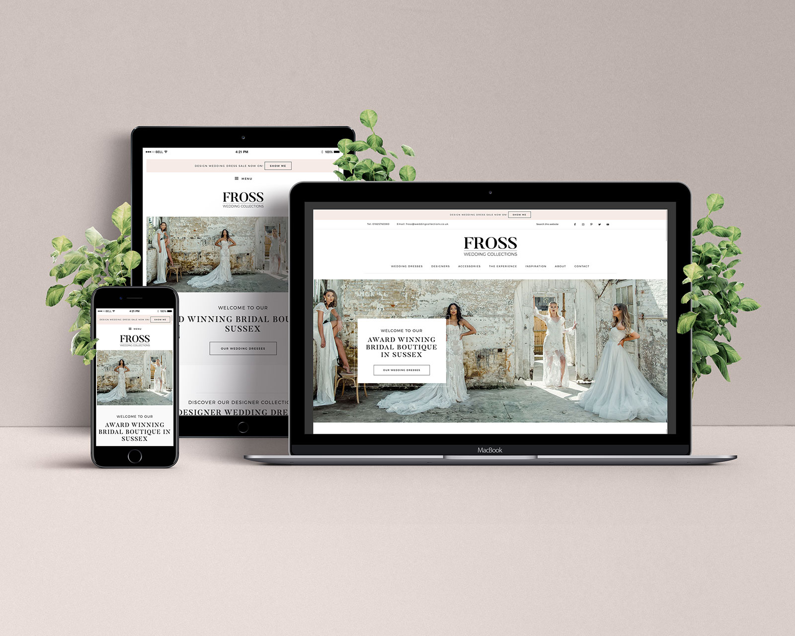 Fross Wedding Collections website on a laptop, tablet and mobile